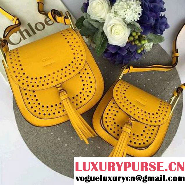 Chloe Hudson Bag In Perforated Smooth Calfskin Yellow 2016 (1A053-6050516 )