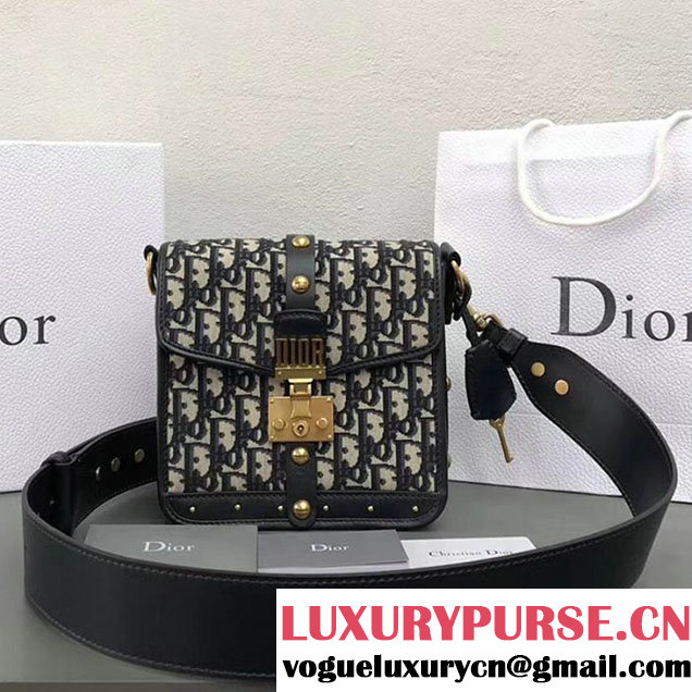 Christian Dior Oblique Canvas Dioraddict Square Flap Bag 20cm Gold Hardware Fall Winter 2017 Collection Black Blue