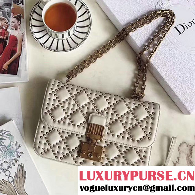Christian Dior Studded Dioraddict Mini Flap 24cm Bag Bohemian Strap Aged Gold Hardware Fall Winter 2017 Collection White