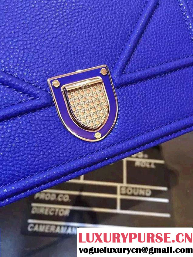 Dior Diorama Flap Bag Grained Calfskin Blue 2015
