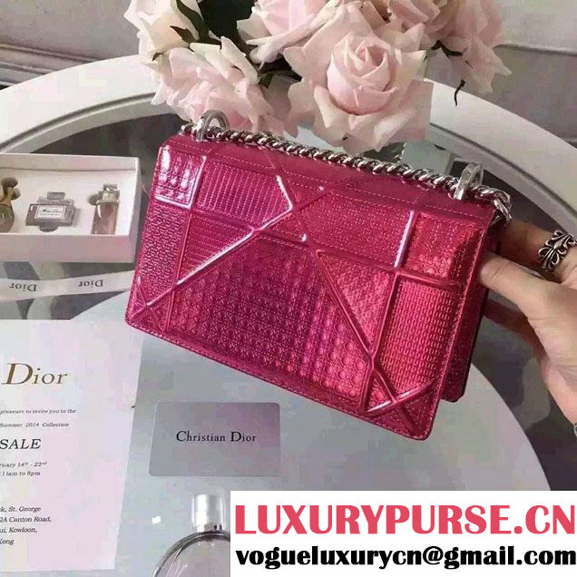 Dior Diorama Flap Bag in Perforated Metallic Calfskin Fuchsia 2016