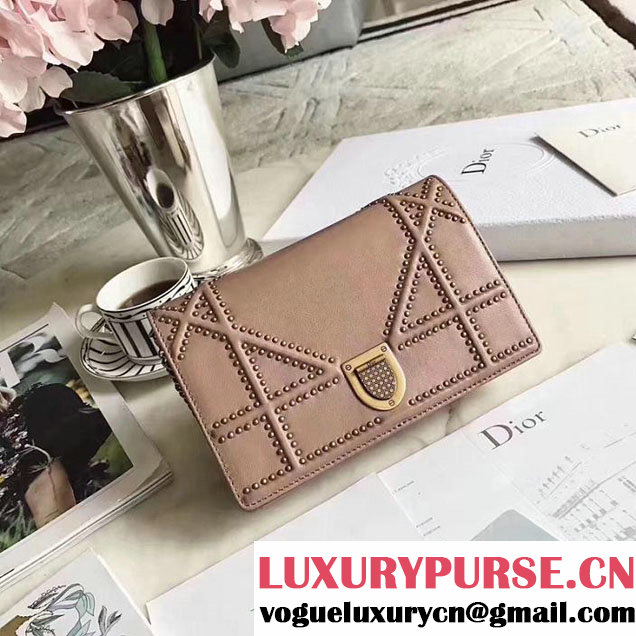 Christian Dior Diorama Studded WOC Handle Clutch with Chain 20cm Calfskin Leather Fall Winter 2017 Collection Beige