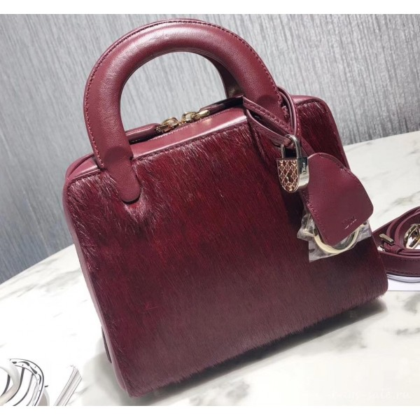Dior Lily Bag In Horsehair Pony Effect Burgundy