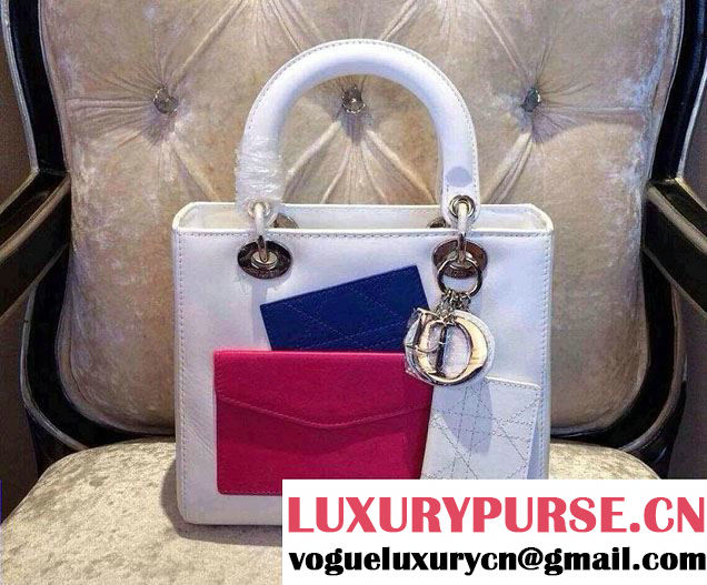 Dior WhitePink Lady Dior with Front Pocket Bag Fall 2014