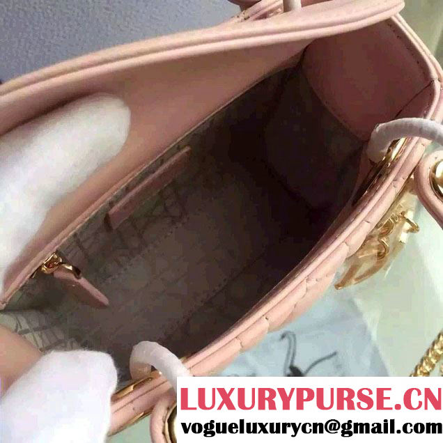 Lady Dior Small Bag with Adjustable Strap in Lambskin Leather Light Pink Gold 2015