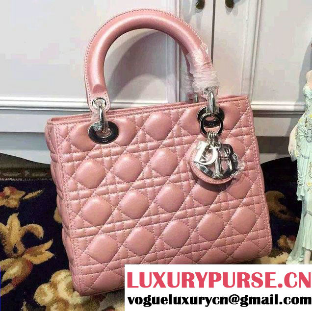 Lady Dior Medium Bag in Sheepsin Leather Nude Pink With Silver Hardware