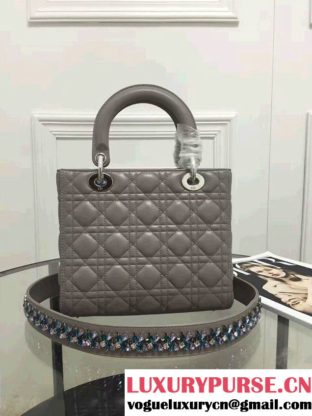 Lady Dior Sheepskin Medium Bag Gray with Embroidered Crystal Chain Shoulder Strap 2016