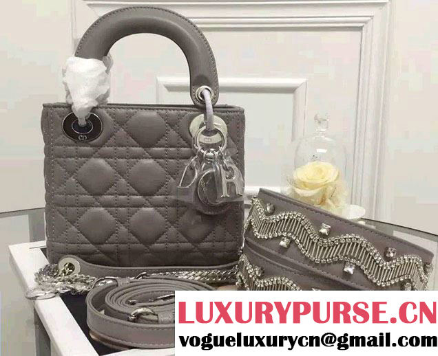 Lady Dior Lambskin Mini Bag Gray With Embroidered Crystals Strap Winter 2016