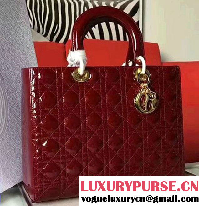 Lady Dior Large Bag Original Quality Patent Leather Burgundy