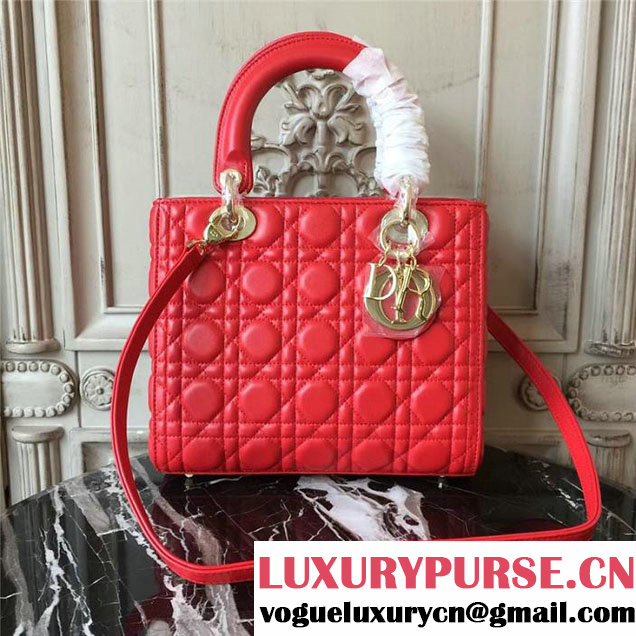Christian Dior Lady Dior Bag 24cm Gold Hardware Cannage Supple Lambskin Leather Cruise 2017 Collection Bright Red