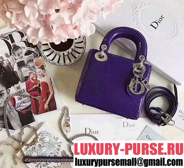 Christian Dior Lady Dior Bag with Python Skin 17cm Diamond Encrusted Silver Hardware Lambskin Leather Cruise 2017 Collection Purple