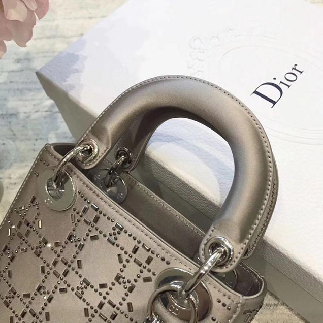 Christian Dior Satin Lady Dior Bag with Beads 17cm Silver Hardware Fall Winter 2017 Collection Silver