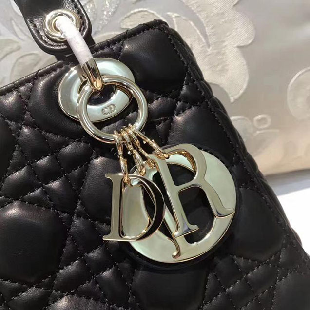 Christian Dior My Lady Dior Bag and Lucky Badges 20cm Gold Hardware Fall Winter 2017 Collection Black