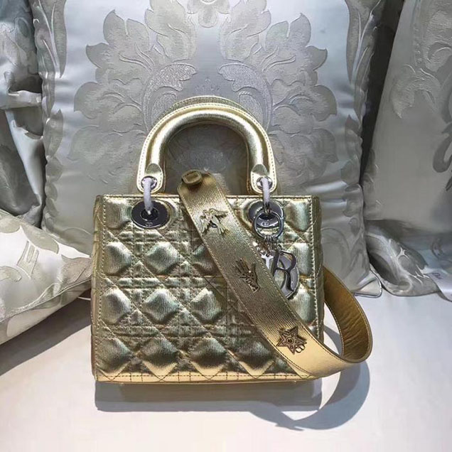 Christian Dior My Lady Dior Bag and Lucky Badges 20cm Silver Hardware Fall Winter 2017 Collection Gold