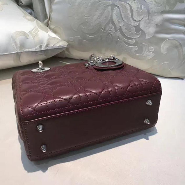 Christian Dior My Lady Dior Bag and Lucky Badges 20cm Silver Hardware Fall Winter 2017 Collection Burgundy