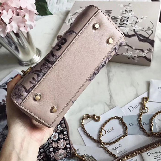 Christian Dior Jardin Japonais Lady Dior Mini Bag with Wide Strap 17cm Aged Gold Hardware Calfskin Leather Spring Summer 2017 Collection Light Pink