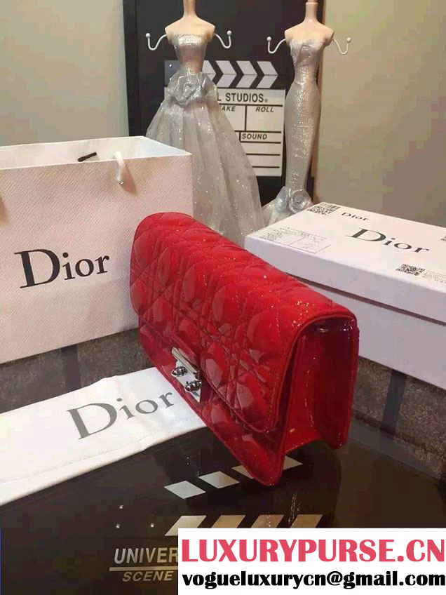 Miss Dior Patent Leather Promenade Pouch Bag Red 2015
