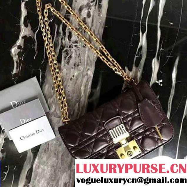 "Dior Small ""Dioraddict"" Flap Bag In Amaranth-coloured Cannage Lambskin 2017 (2A055-7062314 )"