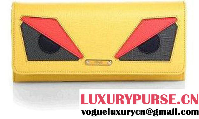 Fendi Yellow Multi Monster Continental Wallet