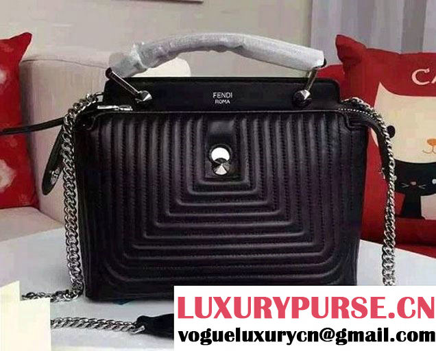 Fendi Quilted Leather Dotcom Click Small Bag Black 2016