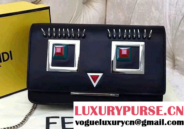 Fendi Multicolored Metal and Square Eyes Wallet On Chain Bag Black 2017