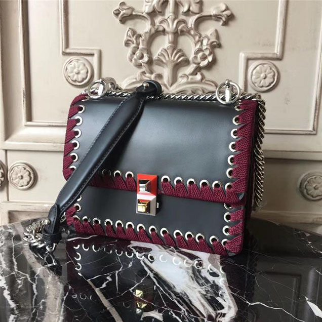 Fendi Kan I Whipstitch with Stones 18cm Calfskin Leather Fall Winter 2017 Bag Collection Black Burgundy