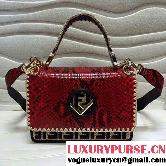 Fendi Python Kan I F Bag With Exotic Details Red F/W 2017 (AFEI-8030905 )