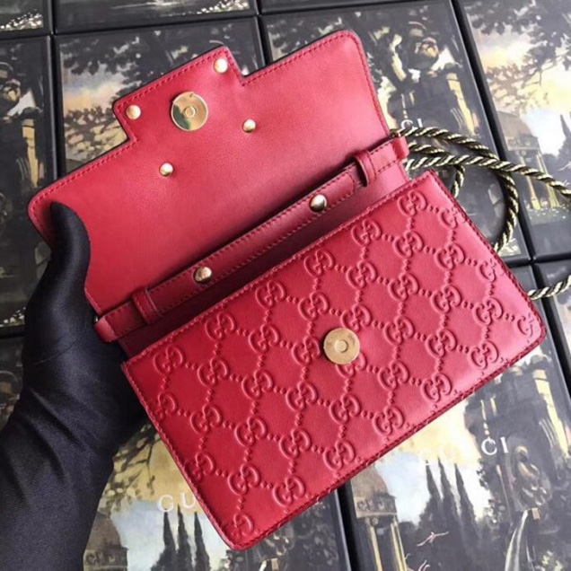 Gucci Signature Leather Shoulder Bag with Square G 544242 Red 2018 Collection