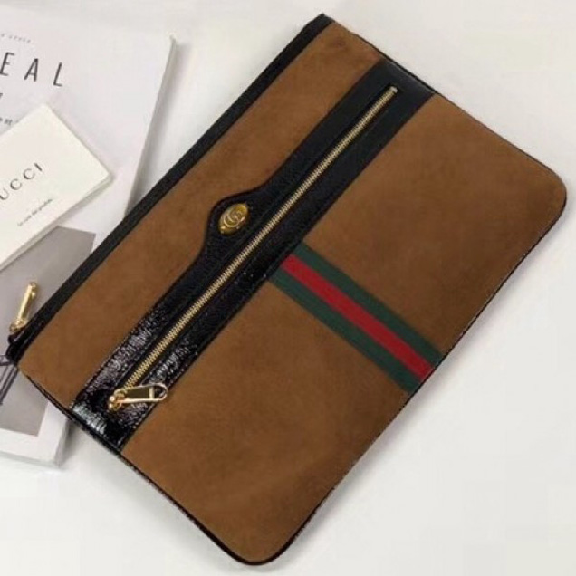 Gucci Ophidia Suede and Patent Leather Pouch 157551 Brown 2018 Collection
