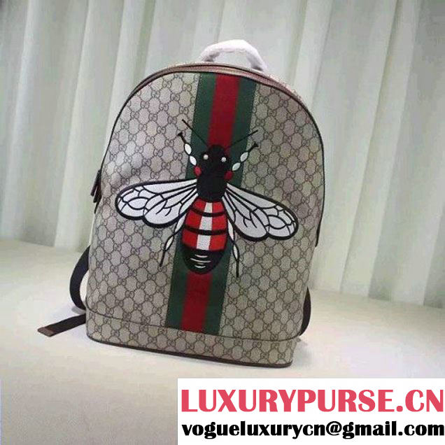 Gucci GG Supreme Canvas Embellised with Bee Backpack 2016 (XXS-6071312 )