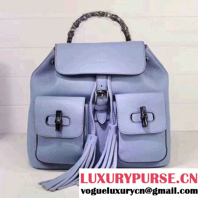 Gucci 370833 Bamboo Leather Backpack Light Blue (XYS-7030305 )