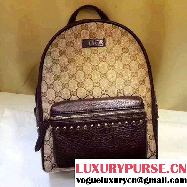Gucci GG Supreme Canvas and Studded Leather Backpack 431570 Brown (XYS-7052414 )