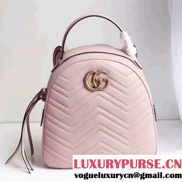 Gucci GG Marmont Quilted Leather Backpack 476671 Pink 2017 (MH-7060619 )