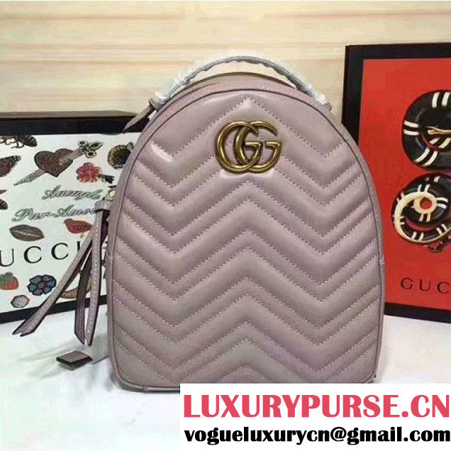 Gucci GG Marmont Quilted Leather Backpack 476671 Grey 2017 (MH-7060621 )