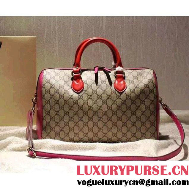Gucci 409527 GG Supreme Top Handle Bag Red/Rosy Fall 2015 (SPM-092118 )