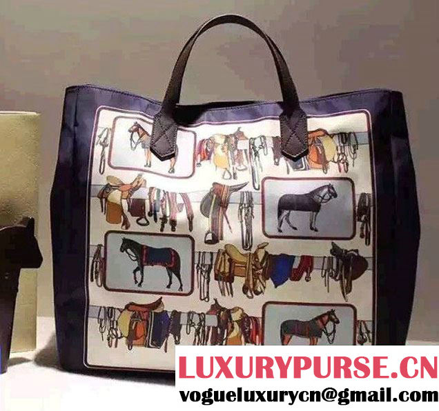 Gucci Horse Frame Print Travel Shopping Tote Bag Blue 2016