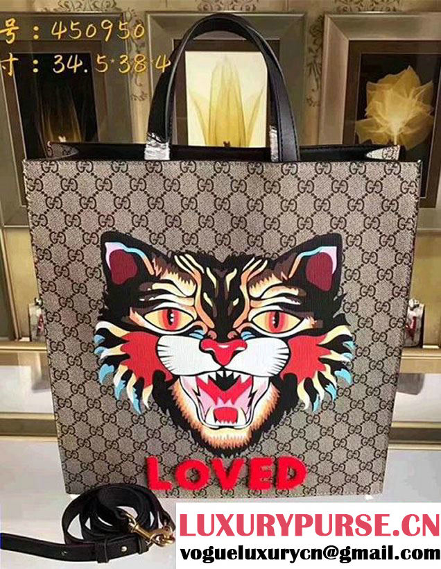 Gucci Angry Cat Print GG Supreme Tote 450950 2017