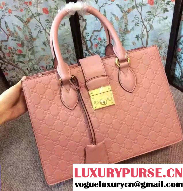 Gucci Signature Leather Padlock Top Handle Small Bag 428207 Pink 2016