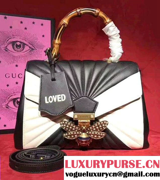 Gucci Queen Margaret Quilted Leather Metal Bee Detail Top Handle Bag 476531 Black/White 2017