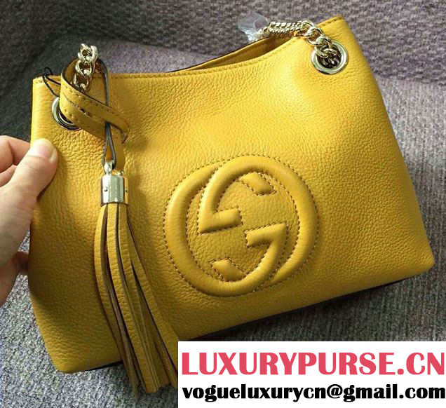 Gucci Soho Leather Shoulder Mini Bag 387043 Yellow 2016