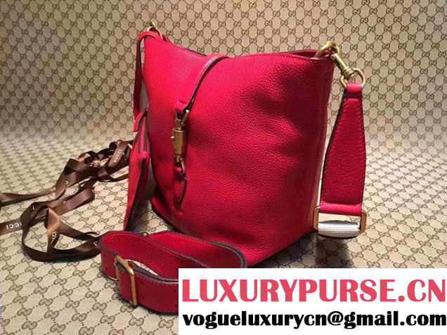 Gucci Jackie Soft Leather Bucket Bag 380579 Red