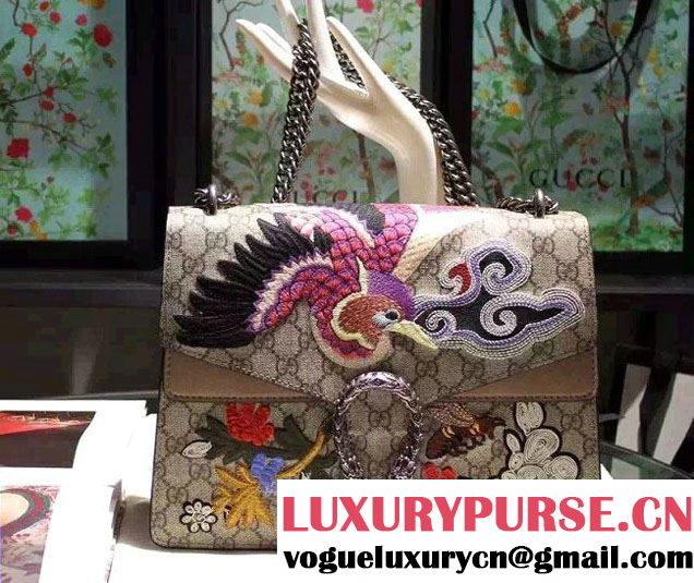 Gucci Dionysus GG Supreme Bird and Flowers Canvas Shoulder Medium Bag 403348 2016