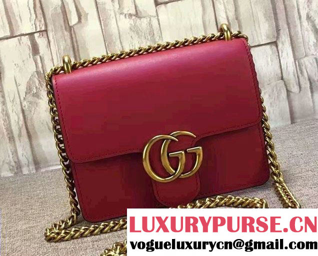 Gucci GG Marmont Leather Chain Shoulder Small Bag 431384 Red 2016