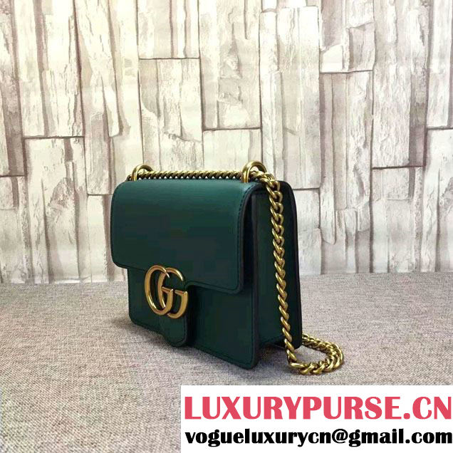 Gucci GG Marmont Leather Chain Shoulder Small Bag 431384 Green 2016