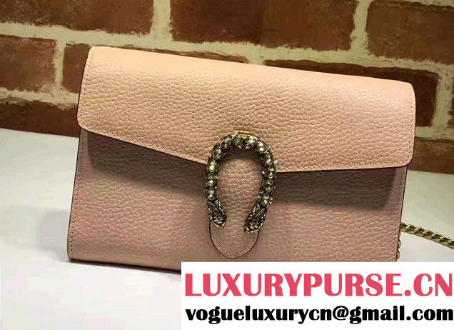 Gucci Dionysus Leather Mini Chain Wallet Bag 401231 Nude Pink 2017
