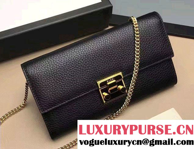Gucci Padlock Leather Continental Chain Wallet Bag 453506 Black 2017