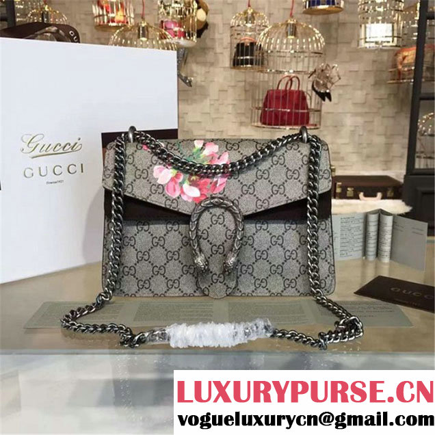 Gucci Dionysus GG Supreme Blooms Print Medium Shoulder Bag Fall Winter 2016 Collection Black Suede Beige