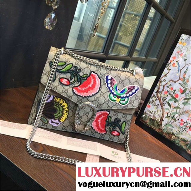 Gucci Dionysus GG Supreme Canvas Butterfly and Flowers Embroidery Medium Shoulder Bag Spring Summer 2016 Collection Tan Suede Beige