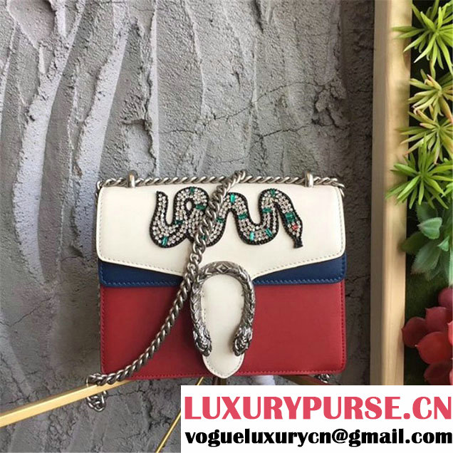 Gucci Dionysus Mini 20cm Shoulder Bag Snake Crystal-Embroidered Gold Hardware Spring Summer 2017 Collection White Hibiscus Red Blue