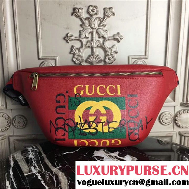 Gucci Coco Capitán Logo Belt Bag 40cm 493869 Calfskin Leather Fall Winter 2017 Collection Hibiscus Red